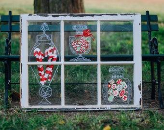 Vintage Christmas Decor - Window Frame - Rustic Christmas Decor - Window Frame Wall Decor - Rustic Christmas - Christmas Wall Decor