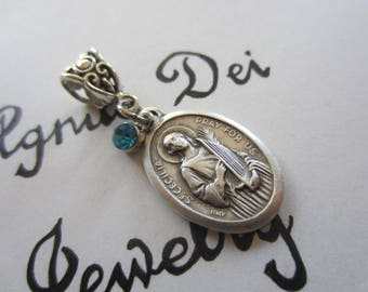 St Cecilia Medal & LtBlue Glass Charm Pendant, Patron Saint for Musician - Music, Catholic Gift