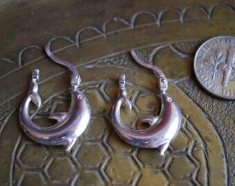 Vintage EARRINGS - 1960s Sterling Silver DOLPHIN Earrings