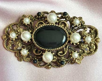 Victorian Style, Ornate, Black Bead & Pearl, Antique Gold Tone Brooch