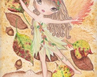 Fairy Art Print. Woodland Fairy watercolor. Fairy painting. Fairy illustration. Girls room decor. Fantasy art. Nursery decor.Fairy wall art