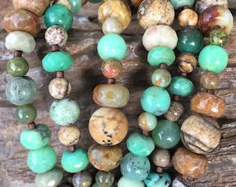 Jade bracelet, Picture Jasper bracelet, Chrysoprase bracelet, Unakite bracelet, 3 strand gemstone bracelet
