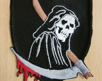 Grim Reaper Embroidered Patch, Death Iron On Patch, Skull Patch,  Hooded Skeleton Patch, Skull with Scythe Embroidered Patch