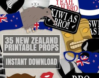 35 New Zealand Photo Booth Props, Kiwi themed party props, i love new zealand party, kiwi photobooth sign, kiwi flag, new zealand props