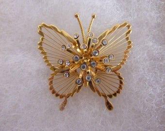 Vintage Monet Butterfly Brooch Rhinestones