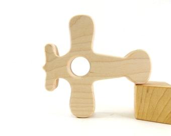 Wood Teether Airplane Toy Wood Airplane Baby Shower Gift Teething Ring Teething Toy Baby Teether Wooden Teether Wood Teething Ring