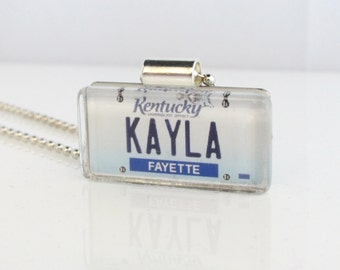 Personalized Kentucky License Plate Pendant Necklace by PL8LINKS