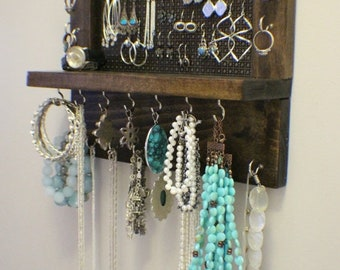 ON SALE Beautiful Kona Stained Wall Mounted Jewelry Organizer, Wall Organizer, Jewelry Display, Necklace Holder, Earring Organizer