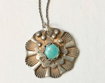 new fine silver and turquoise pendant