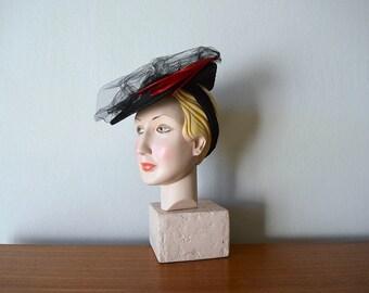 Vintage 1940s tilt hat . black 40s feather hat