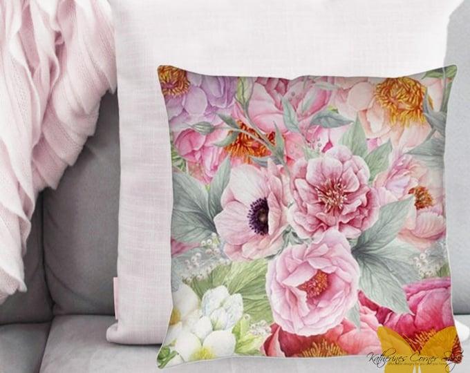 Flower Garden Pillow Exclusive Design, Pink Flower Pillow, Living Room Pillow, Sun Porch Pilllow