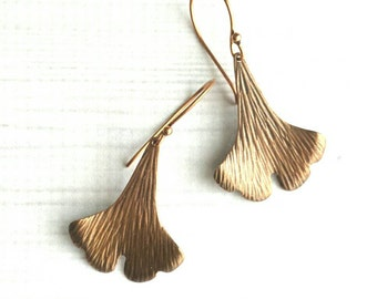 Copper Leaf Earrings - antique ox finish ginkgo leaves curved simple large design - oxidized petals boho bohemian style - Asian zen nature
