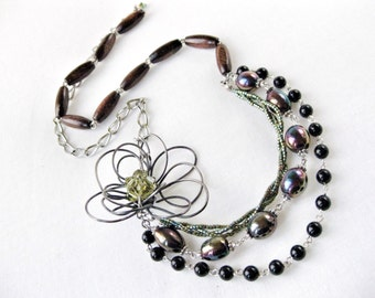 Asymmetrical Multi Strand Flower Necklace Oil Slick Peacock Colored Green Purple Blue Beads with Silver Chain Wood  Handmade Jewelry Canada