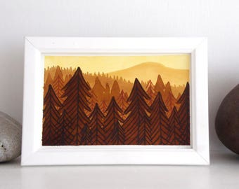 ORIGINAL Painted Illustration | Autumn Woods