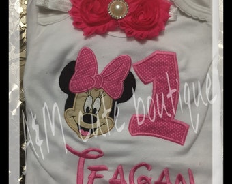 Mini mouse with number and name with matching headband shirt