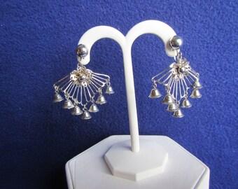 vintage  DANGLE EARRINGS ; Screw on Earrings, Silver tone with 7 bell shapes.**  Jewelry