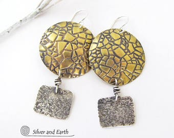 Mixed Metal Earrings, Sterling Silver & Brass Earrings, Textured Metalwork, Urban Modern Contemporary Jewelry, Brass and Silver Earrings