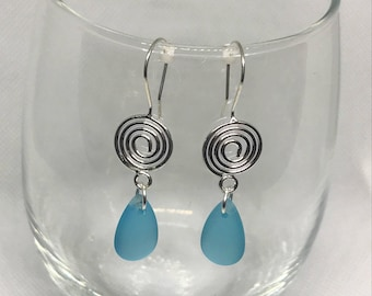 Silver and Blue Sea Glass Earrings