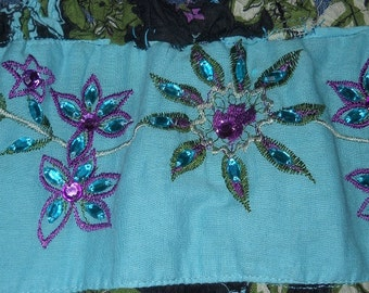 Embellished jean skirt midnight turquoise aqua dark blue sequins rhinestones ruffled tiered French bohemian Renaissance Denim Couture
