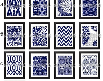 Navy White Damask Floral Wall  Art Prints -Pick Any (6) Prints, Any Color - 8x10 Prints - Custom Colors Sizes Available (UNFRAMED)