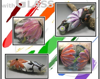 TUTORIAL LAMPWORK Learn how to make flower petal cane for glass bead making by Donna Millard sra