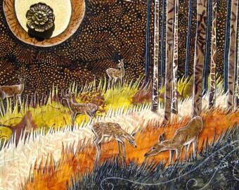 Forest Hills, deer fawn doe, autumn fall halloween, earth tones, vintage brass knob, Original Fabric on Wood cabinet door