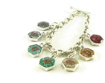 Orgone Energy Chakra Rainbow Charm Bracelet - Honeycomb - Hexagon - Chakra Gemstones - Balance and Healing - Artisan Jewelry
