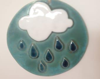 Handmade Ceramic Round Cloud and Raindrop Plaque