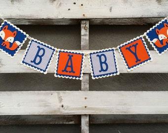 Navy Blue and Grey Chevron Fox Baby Banner, Woodland Fox Baby Banner,  Woodland Themed Banner, Baby Shower Decor, Baby Photo Prop,