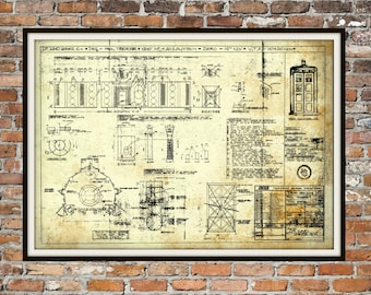 Tardis Print Poster Interior Dr Who Blueprint The Tardis Blueprint Interior Art of The Tardis, Whovian Gift  Police Box Print Art Item 0218C