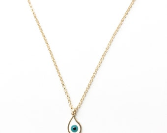 Baby Blue Evil Eye Warm Gold Necklace. Customize Length. FAST Shipping with Tracking for US Buyers. Gift Box Included.