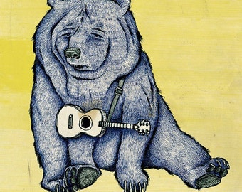 SAD BEAR 11 x 15.5 print signed and numbered, Backround color your choice (yellow, green, blue or pink).