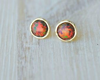 Opal earrings. Fire Opal stud earrings. Opal studs earrings. Gold silver stud earrings. October birthstone. Christmas gift. Gift-for-woman