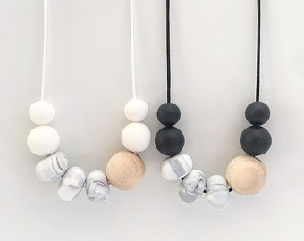 ZURI Marble Necklace // Teething // Teething Necklace // Nursing Necklace // Silicone Beads // 100% Food Grade Silicone // Modern Jewellery