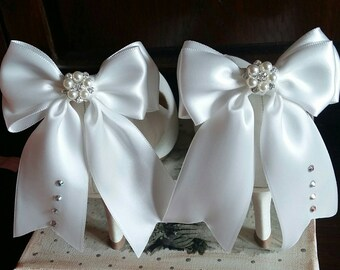 ON SALE Satin bow shoe clips wedding shoe clips Many colour available