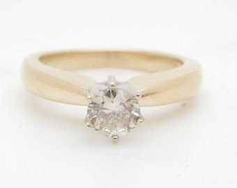 14K Yellow Gold 0.45ct I-SI1 Round Natural Diamond Solitaire Engagement Ring; sku # 2835