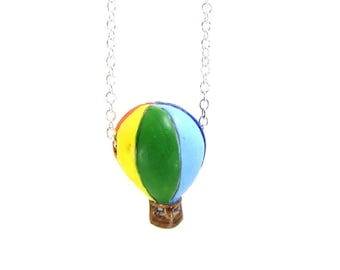 Hot Air Balloon Up Up And Away Bon Voyage Necklace