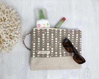 Large Katrina Pouch, moonphase taupe and natural