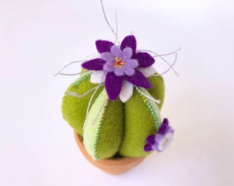 green felt cactus pincushion with purple flowers and hand embroidery in a little terra-cotta pot