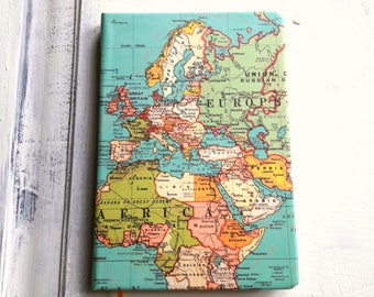 Map journal etsy a5 vintage world map travel journal ruled notebook colourful journal hardback 200 gumiabroncs Choice Image