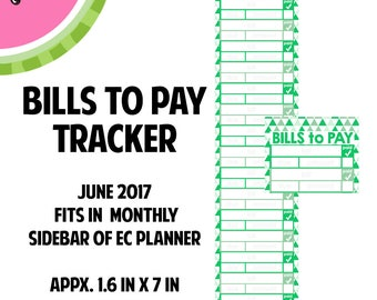 JUNE 2017 Monthly BILLS to Pay Tracker Stickers | Vertical Color Palette | LB141