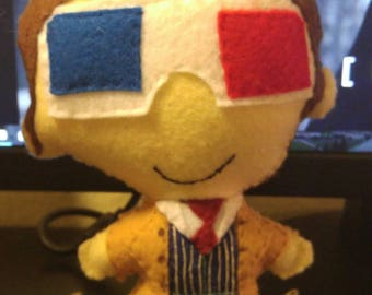 Doctor Who 10 with 3D Glasses 8 Inch Felt Hand Sewn Doll- Made to Order