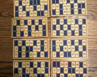 Vintage Blue Lotto Game Cards with Numbers Set of 8