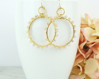 Wire wrapped gold hoop earrings