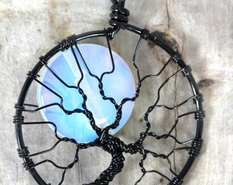 Celestial Jewelry Rainbow Moonstone Full Moon Tree of Life Pendant Black Wire Wrapped Jewelry Opalite Moonstone Jewelry Lunar Necklace Gift