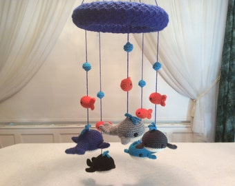 Whale and goldfish baby mobile tutorial - crochet pattern - baby whales - baby goldfish - water bubbles - baby decor - instant download pdf
