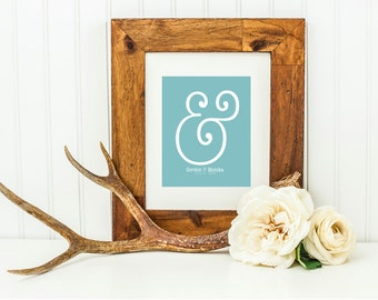 """Ampersand Modern Bedroom Decor . Wedding Gift Graphic Typography Love Print Personalized You Me """"&"""" Punctuation Anniversary Romantic Bedroom"""