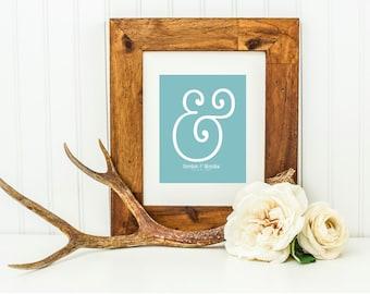 "Ampersand Wall Art . Modern Valentine Gift . Typography Poster Print Ampersand Sign . Personalized Custom ""&"" Wedding Anniversary Reception"