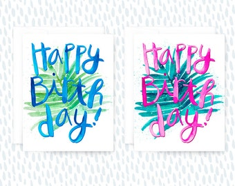 Tropical Birthday Card Set, Set of Birthday Cards, Set of Tropical Cards, Tropical Cards, Happy Birthday Card Set, Party Cards, Palms, Plant