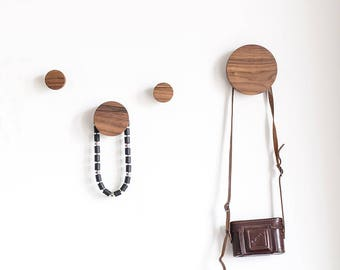 Entryway coat hooks - wooden coat hooks - wooden knobs - wall knobs - round wooden wall hooks - wooden wall knobs - round wood hooks